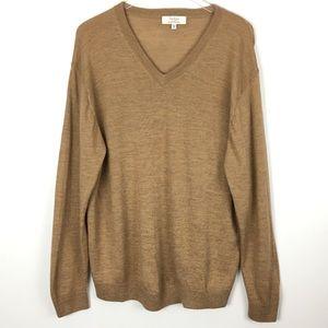 Turnbury Merino Wool Knit Tan Beige V-Neck Sweater